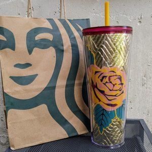 NWT Starbucks Rose Gold Quilted Tumbler Fall 2020
